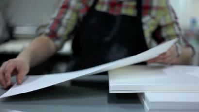 small business printer pulling letterpress film